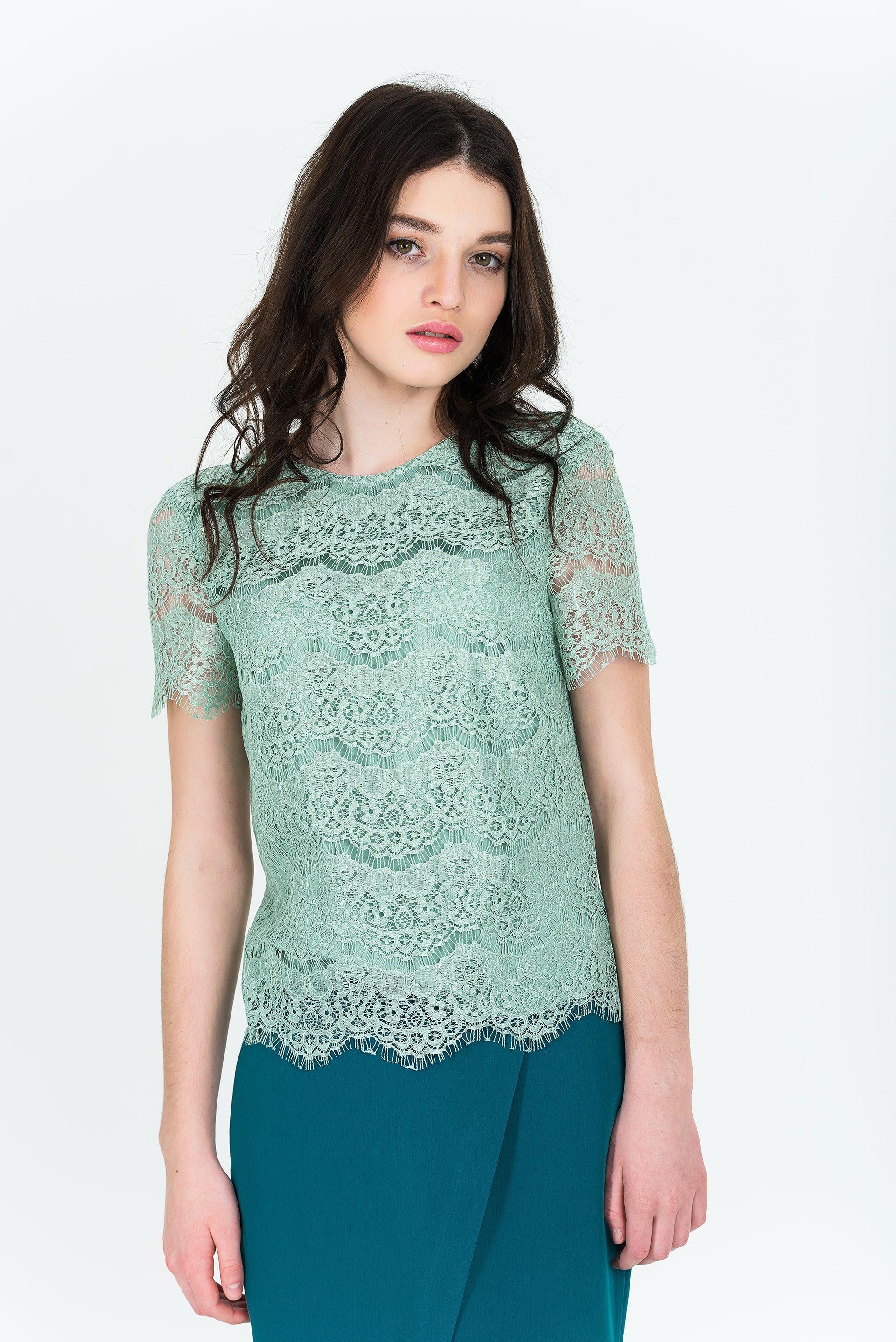 Блузка гипюровая с коротким рукавом