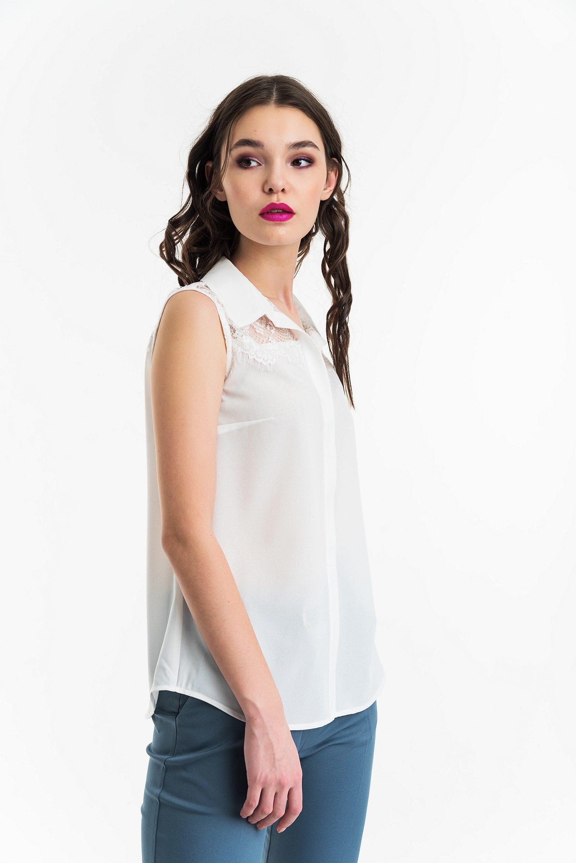 Блузка из шифона с кружевом