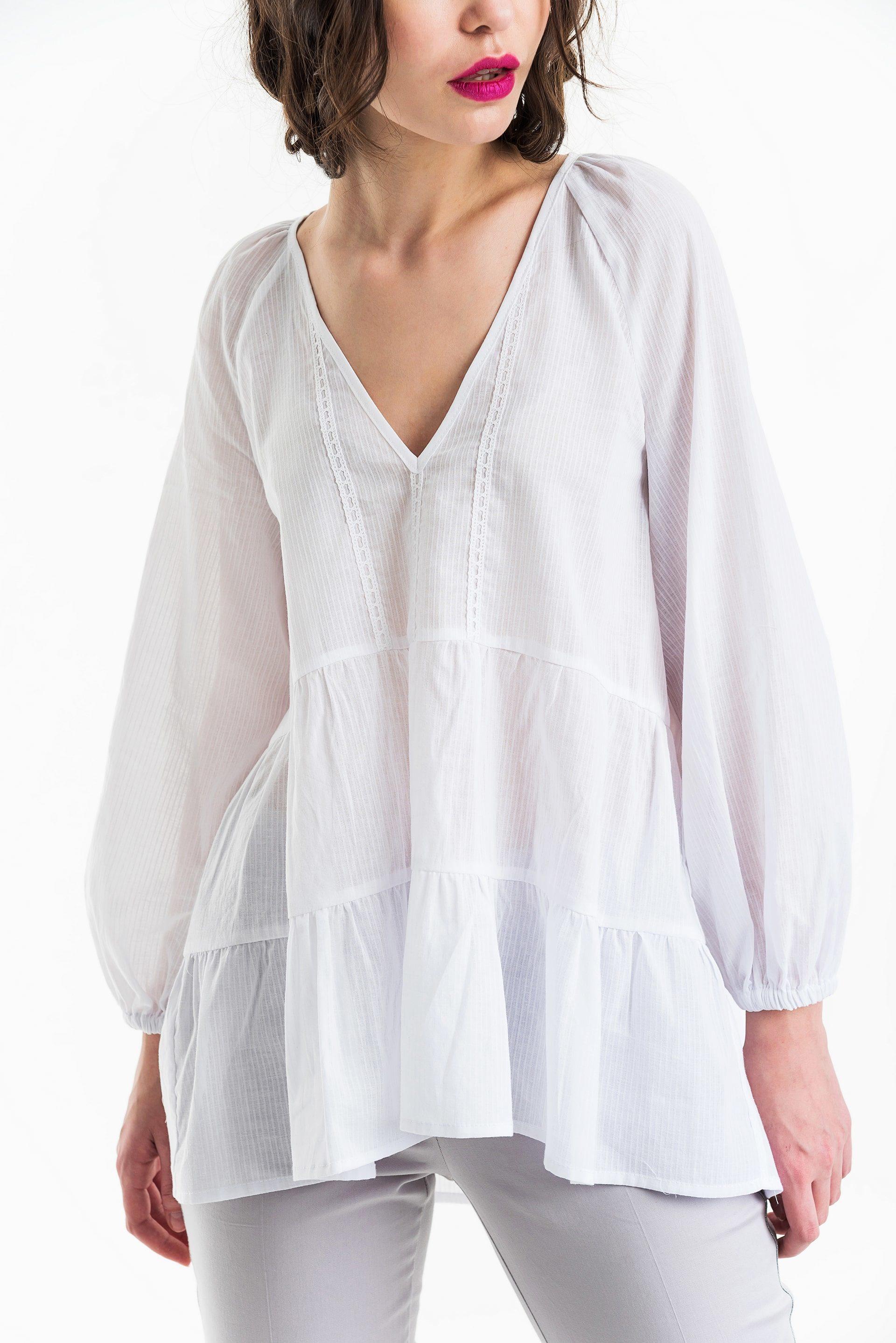 Блузка многоярусная со сборкой