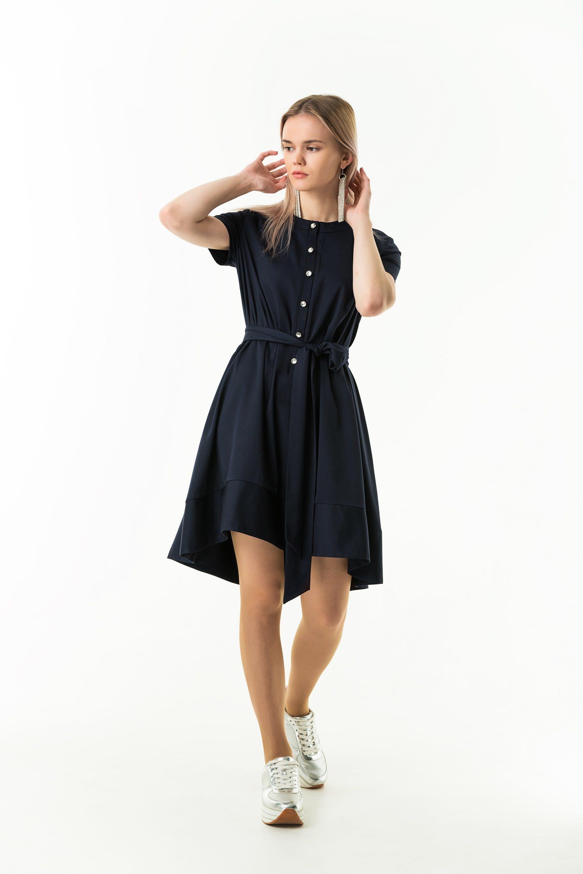 Платье из хлопка А-образного силуэта