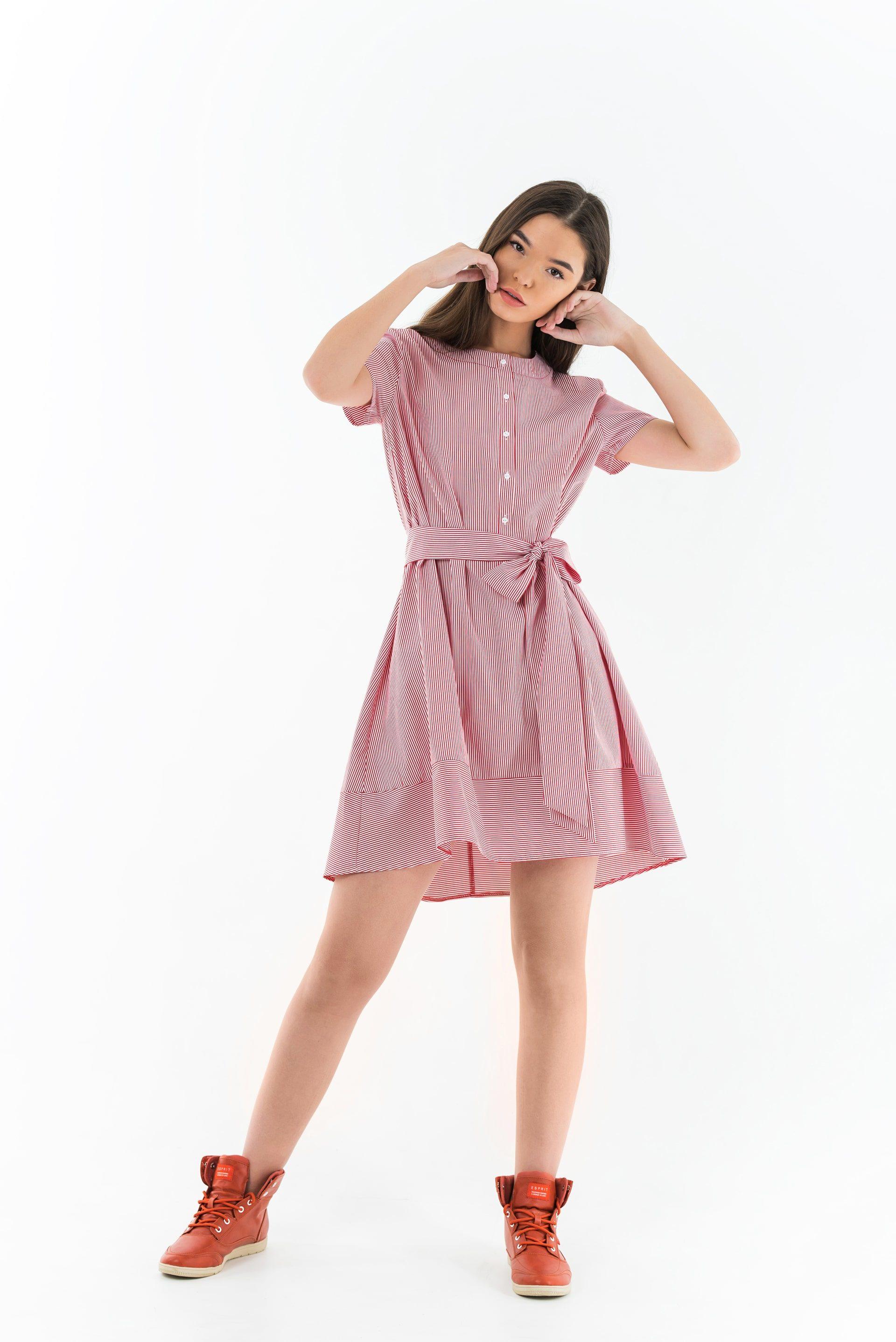 Платье в полоску А-образного силуэта