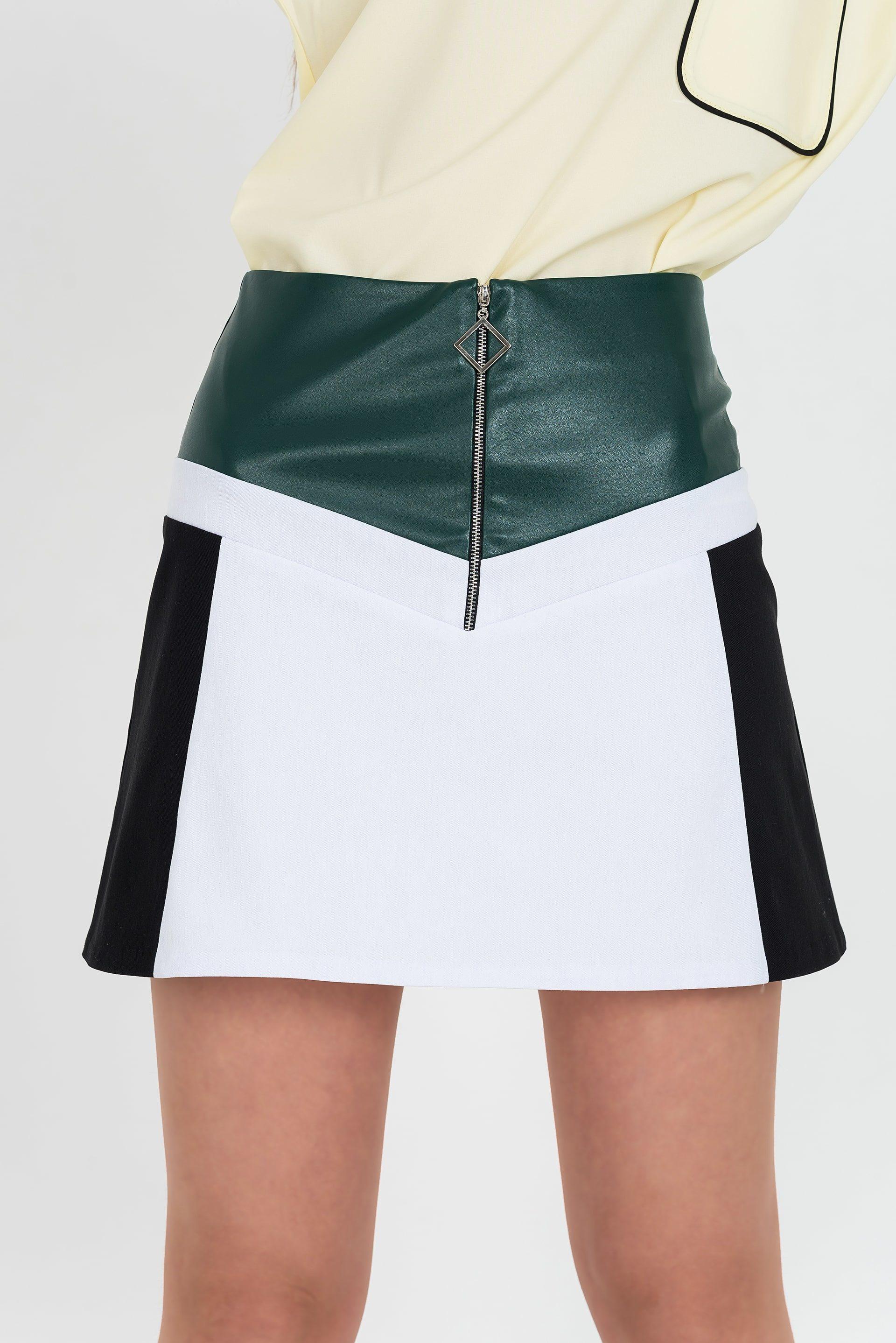 Кожаная юбка с геометричными вставками