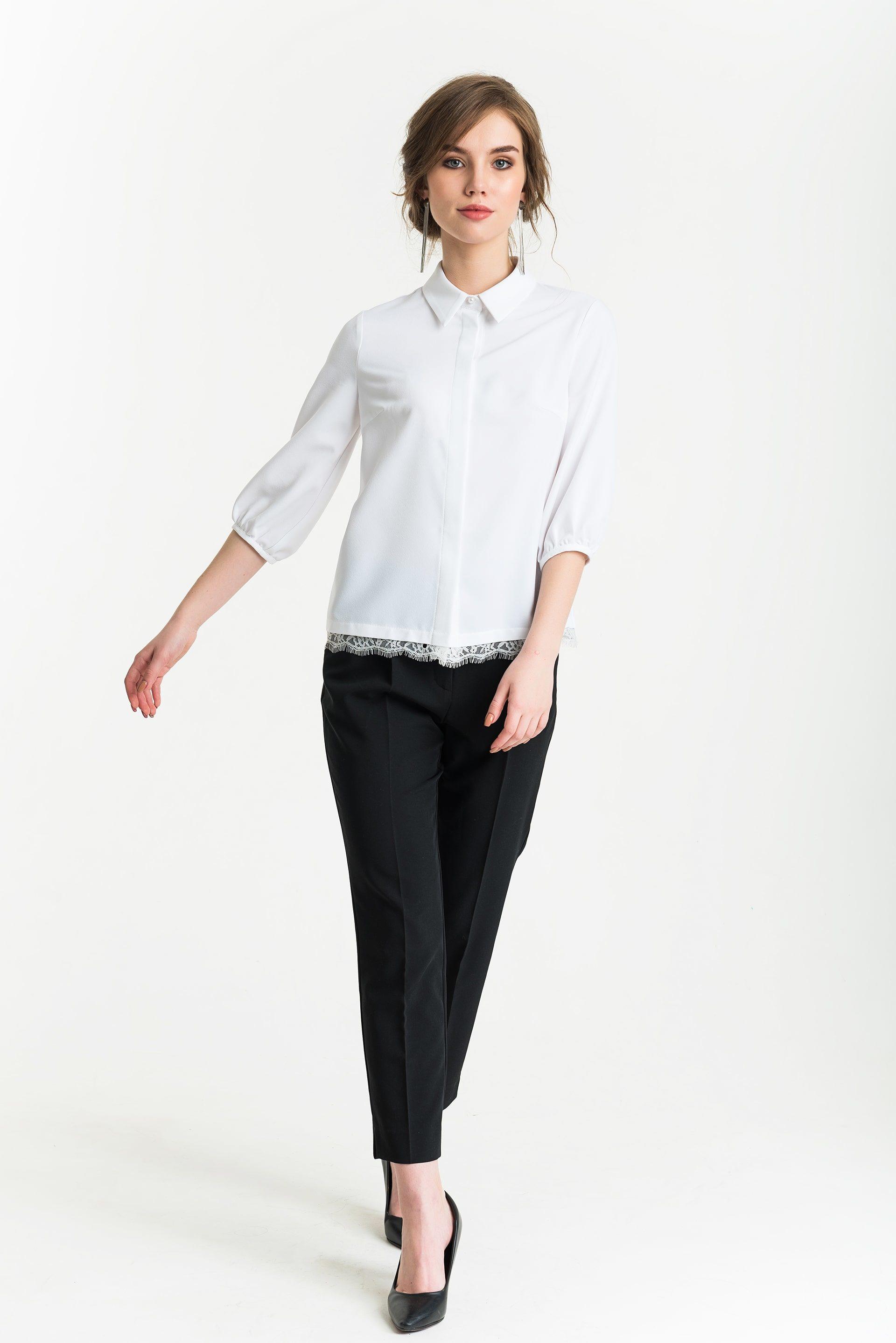 Блуза с кружевом по низу