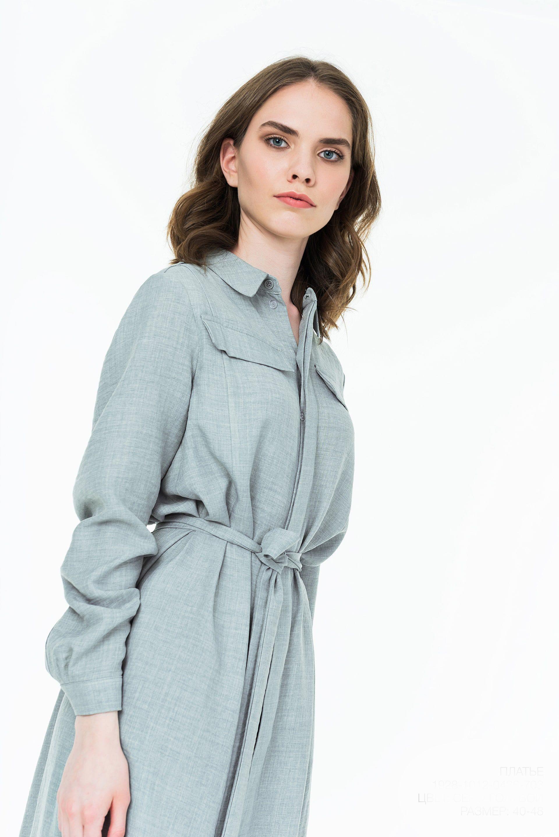 Платье-рубашка из вискозы с разрезами по бокам