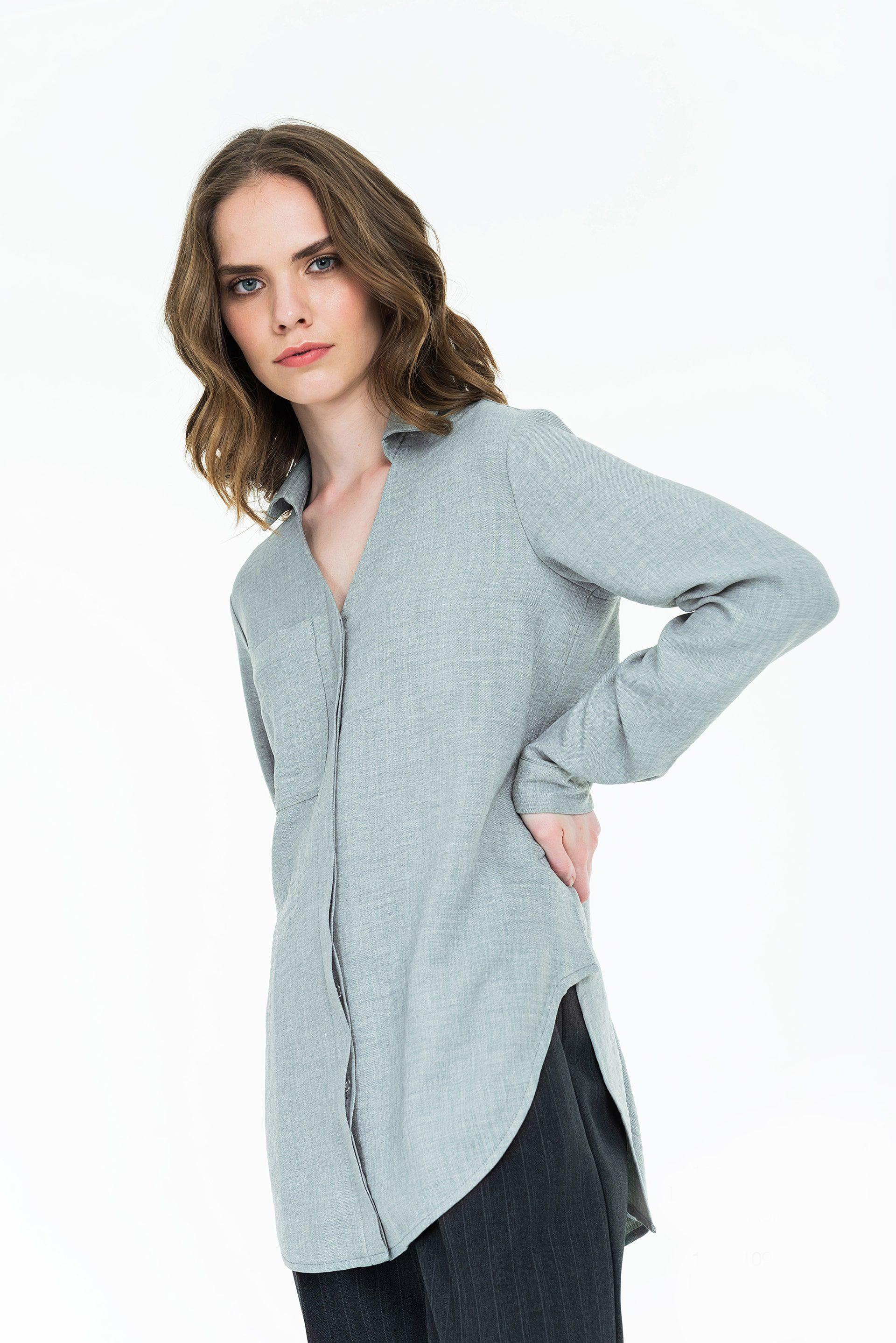 Удлинённая рубашка из вискозы